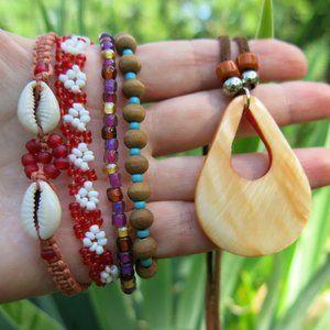 Bohemian 4 Bracelets and Shell Pendant BUNDLE